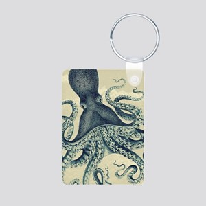 Vintage octopus in teal green on marbling texture