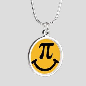 Pi Smiley Silver Round Necklace