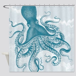 Ancient Vintage Octopus On Marbling Shower Curtain