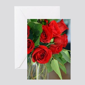 Red roses in vase Greeting Cards
