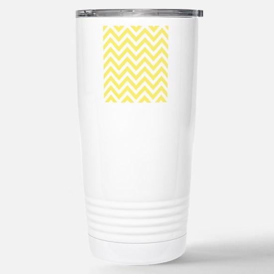 Yellow and White chevro Stainless Steel Travel Mug