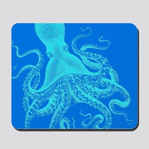 Vintage octopus shower curtain in beautiful blues