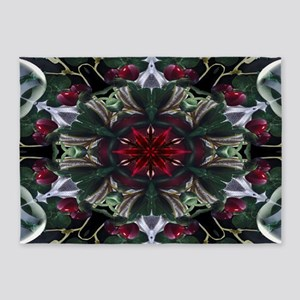 Christmas Berry Wreath 5'x7'Area Rug