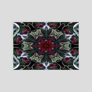 christmas berry wreath 5x7area rug