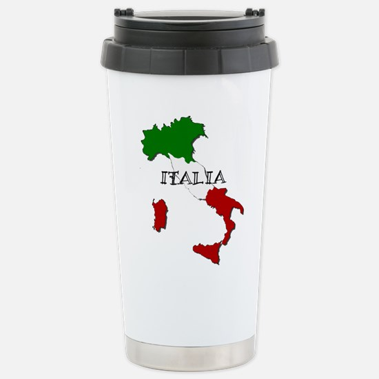 Italy Flag Map Stainless Steel Travel Mug