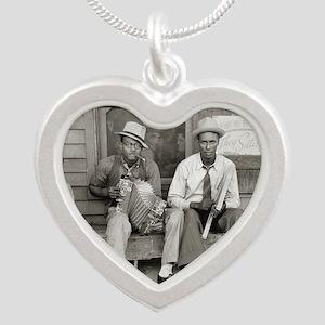 Street Musicians, 1938 Silver Heart Necklace
