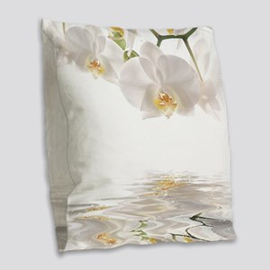 Orchids Reflection Burlap Throw Pillow