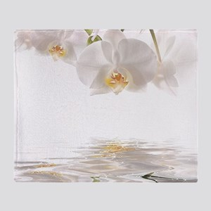 Orchids Reflection Throw Blanket