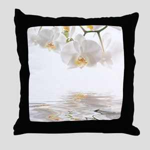Orchids Reflection Throw Pillow