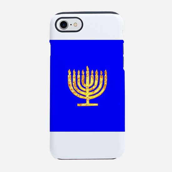 Blue Glowing Chanukah Menorah iPhone 7 Tough Case