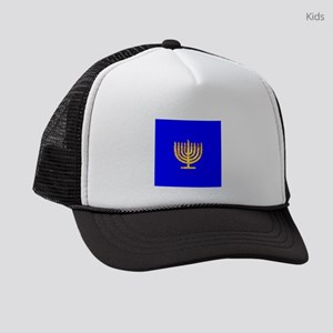 Blue Glowing Chanukah Menorah 4Gu Kids Trucker hat
