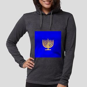 Blue Glowing Chanukah Menorah Long Sleeve T-Shirt