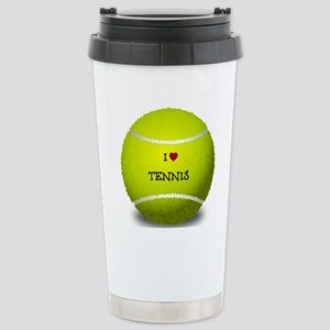 I Love Tennis on a Yell Stainless Steel Travel Mug