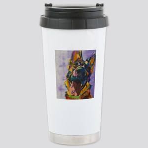 German Shepherd Pup Art Stainless Steel Travel Mug