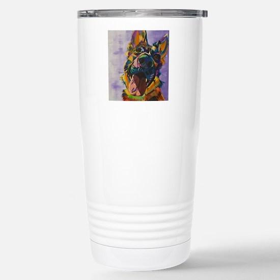 German Shepherd Pup Art Stainless Steel Travel Mug