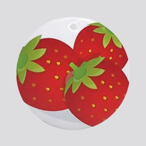 Strawberry Trio Round Ornament