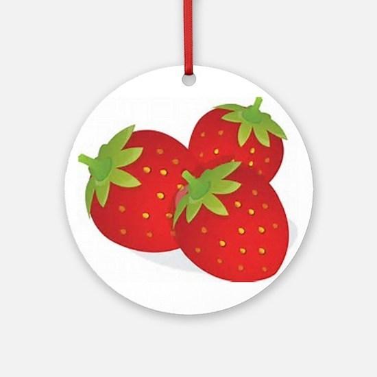 Strawberry Trio Round Ornament