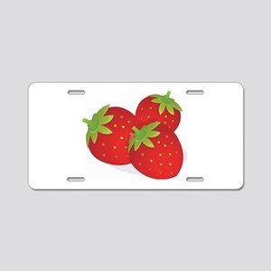 Strawberry Trio Aluminum License Plate