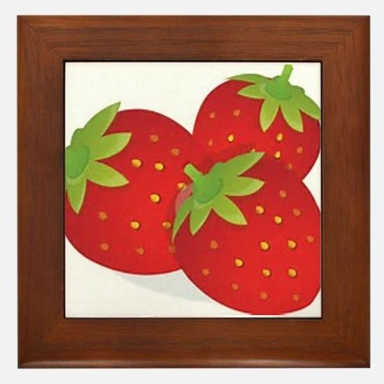 Strawberry Trio Framed Tile