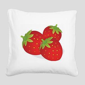 Strawberry Trio Square Canvas Pillow