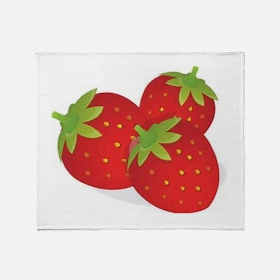 Strawberry Trio Throw Blanket