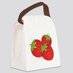 Strawberry Trio Canvas Lunch Bag