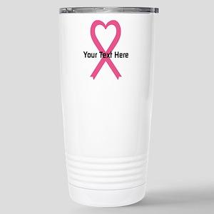 Personalized Pink Ribbo Stainless Steel Travel Mug
