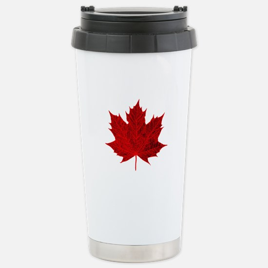 Vibrant Red Maple Leaf Stainless Steel Travel Mug
