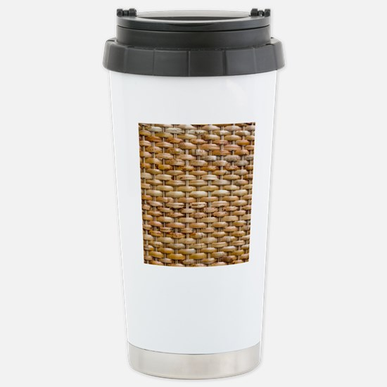 Woven Wicker Basket Stainless Steel Travel Mug