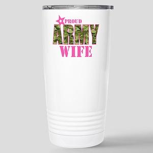 Camo Proud Army Wife Stainless Steel Travel Mug