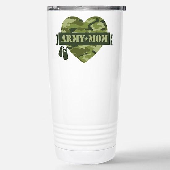 Camo Heart Army Mom Stainless Steel Travel Mug