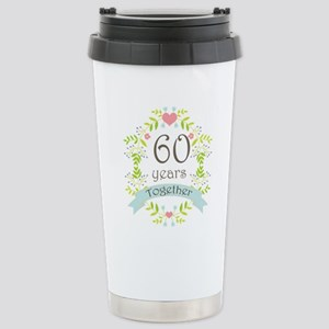 60th Anniversary flower Stainless Steel Travel Mug