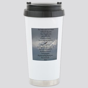 The Lords Prayer with E Stainless Steel Travel Mug