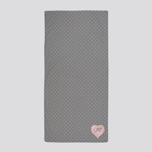 Hearts and Stars on Gray Beach Towel