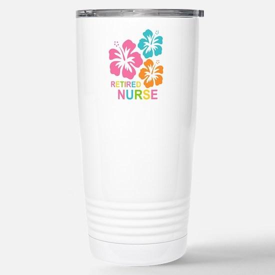 Hibiscus Retired Nurse Stainless Steel Travel Mug