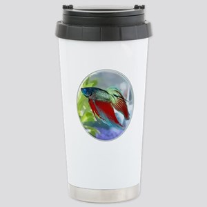 Colorful Betta Fish in a Bubble Stainless Steel Tr