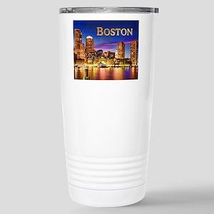 Boston Harbor at Night text BOSTON copy Stainless
