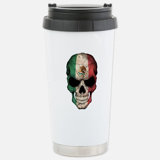 Mexican Flag Skull on Black Stainless Steel Travel