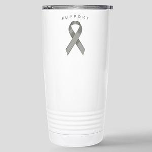 Gray Awareness Ribbon Stainless Steel Travel Mug