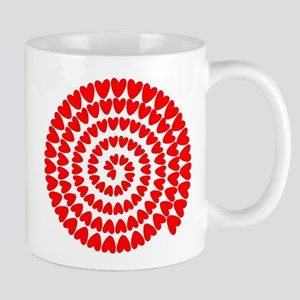 Red hearts spiral Mugs