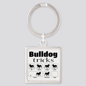Bulldog Tricks Square Keychain