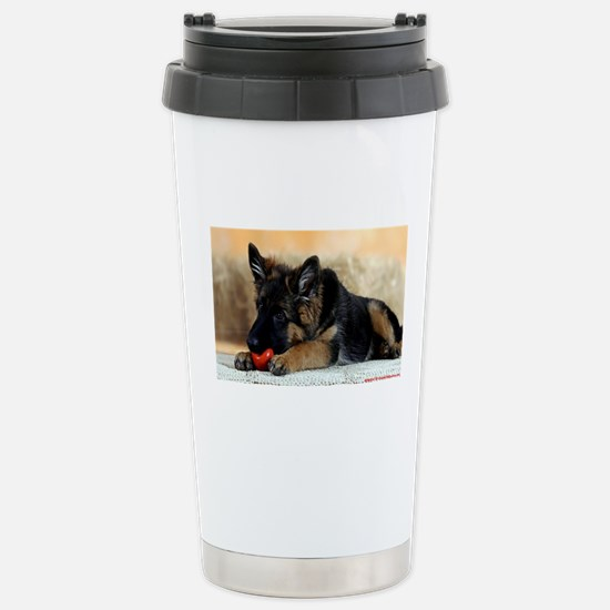 German Shepherd Puppy with Red Ball Stainless Stee