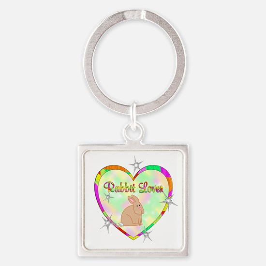 Rabbit Lover Square Keychain