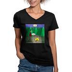 Zombie Campfire Women's V-Neck Dark T-Shirt