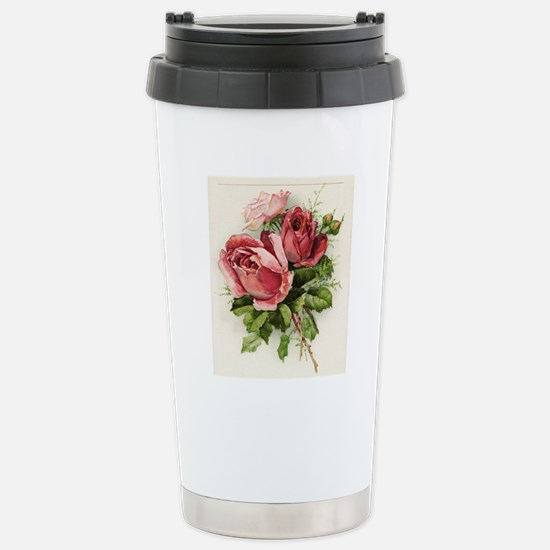 Vintage Antique Roses Stainless Steel Travel Mug