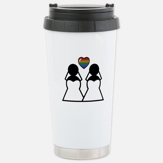 Silhouette Bride and Br Stainless Steel Travel Mug