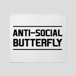 Anti-Social Butterfly Throw Blanket