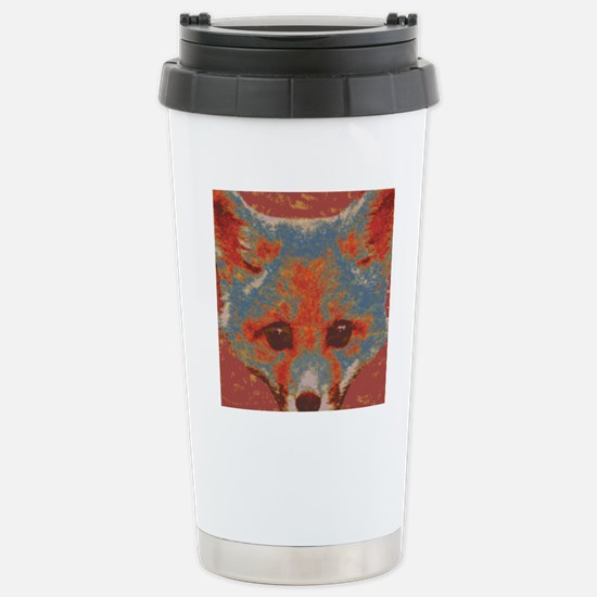 Red Fox Print Stainless Steel Travel Mug