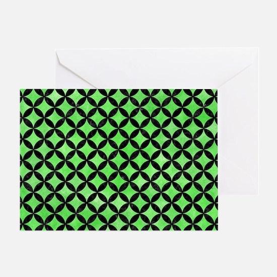 CIRCLES3 BLACK MARBLE & GREEN WATERC Greeting Card