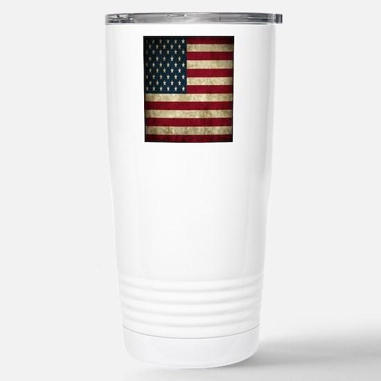 USA Flag - Grunge Stainless Steel Travel Mug